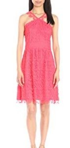 NWT Kensie Dress Coral Halter Crochet Lace